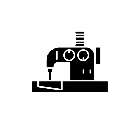 Sewing machine black icon, concept vector sign on isolated background. Sewing machine illustration, symbol Illustration