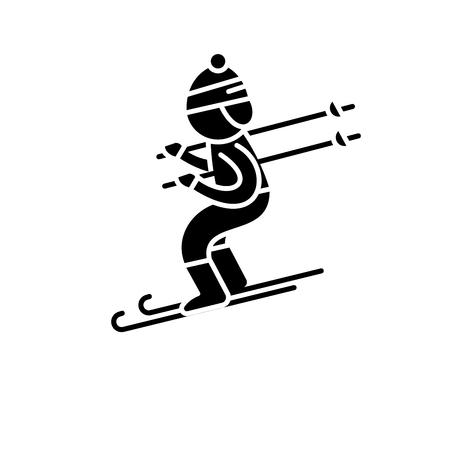 Icône noire de ski, signe de vecteur de concept sur fond isolé. Illustration de ski, symbole