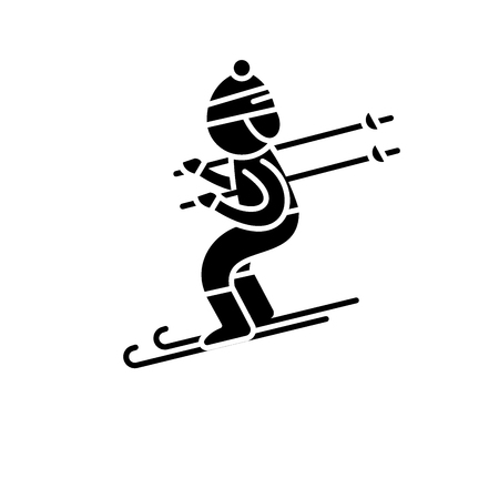 Skiing black icon, concept vector sign on isolated background. Skiing illustration, symbol Ilustracja