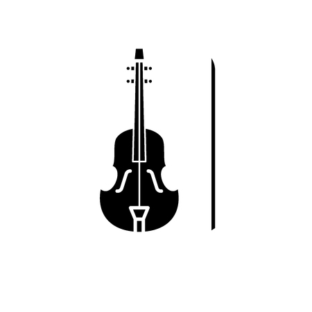 Violin black icon, concept vector sign on isolated background. Violin illustration, symbol