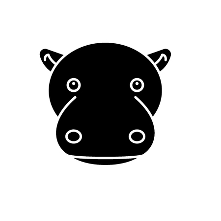Funny hippo black icon, concept vector sign on isolated background. Funny hippo illustration, symbol