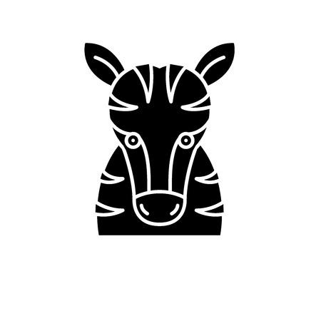 Funny zebra black icon, concept vector sign on isolated background. Funny zebra illustration, symbol