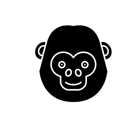 Lustige Schimpanse schwarzes Symbol, Konzept-Vektor-Zeichen auf isoliertem Hintergrund. Lustige Schimpansenillustration, Symbol Vektorgrafik