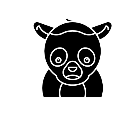 Funny lemur black icon, concept vector sign on isolated background. Funny lemur illustration, symbol  イラスト・ベクター素材