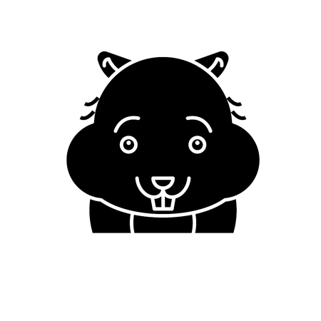 Cute hamster black icon, concept vector sign on isolated background. Cute hamster illustration, symbol