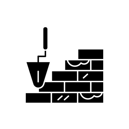 Brick laying black icon, concept vector sign on isolated background. Brick laying illustration, symbol