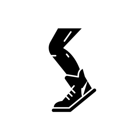 Sport running black icon, concept vector sign on isolated background. Sport running illustration, symbol