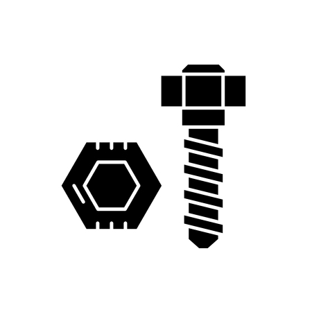 Bolt and nut black icon, concept vector sign on isolated background. Bolt and nut illustration, symbol