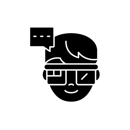 Augmented reality vision glasses black icon, concept vector sign on isolated background. Augmented reality vision glasses illustration, symbol Stock Vector - 127267990