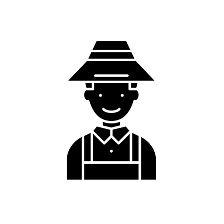 Farmer black icon, concept vector sign on isolated background. Farmer illustration, symbol