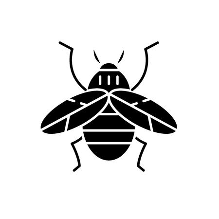 Bee black icon, concept vector sign on isolated background. Bee illustration, symbol