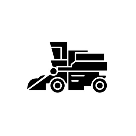 Combine harvester black icon, concept vector sign on isolated background. Combine harvester illustration, symbol