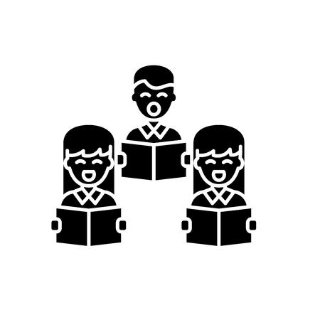 Choral singing black icon, concept vector sign on isolated background. Choral singing illustration, symbol Standard-Bild - 113531623