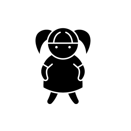 Doll black icon, concept vector sign on isolated background. Doll illustration, symbol