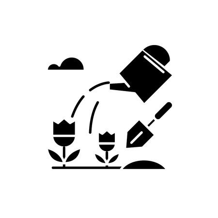 Farmland black icon, concept vector sign on isolated background. Farmland illustration, symbol