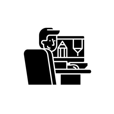 Designer at work black icon, concept vector sign on isolated background. Designer at work illustration, symbol Illustration