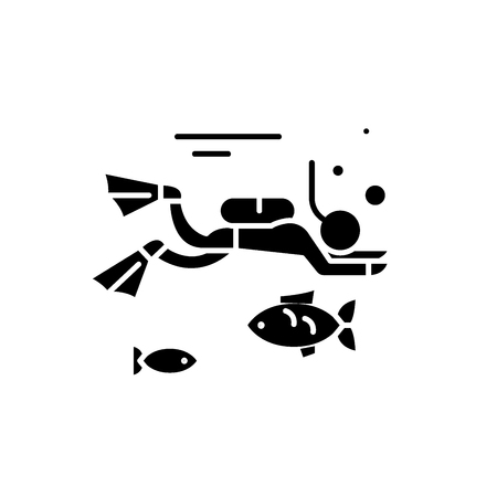 Diving black icon, concept vector sign on isolated background. Diving illustration, symbol