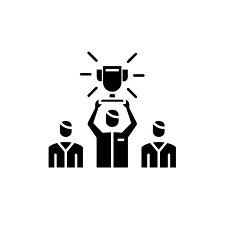 Team leader black icon, concept vector sign on isolated background. Team leader illustration, symbol Stock fotó - 127268019
