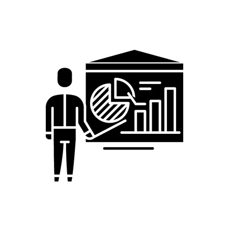 Accounting analysis black icon, concept vector sign on isolated background. Accounting analysis illustration, symbol