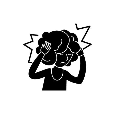 Headache black icon, concept vector sign on isolated background. Headache illustration, symbol Ilustração
