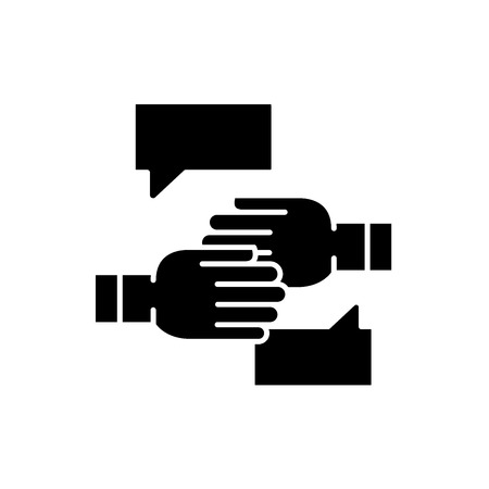 Agreement of intent black icon, concept vector sign on isolated background. Agreement of intent illustration, symbol
