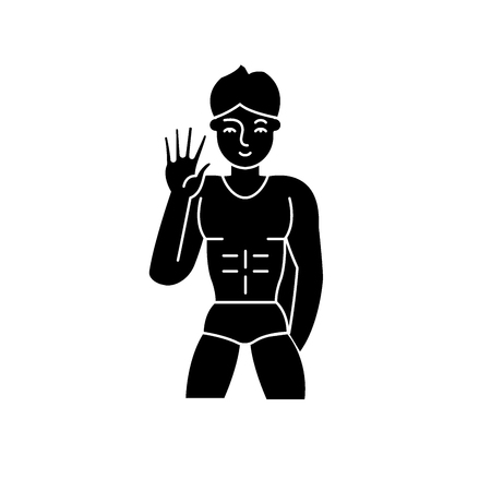 Male striptease black icon, concept vector sign on isolated background. Male striptease illustration, symbol