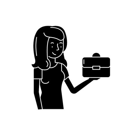 Franchise for women black icon, concept vector sign on isolated background. Franchise for women illustration, symbol Illusztráció