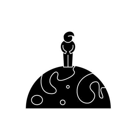Citizen of the world black icon, concept vector sign on isolated background. Citizen of the world illustration, symbol