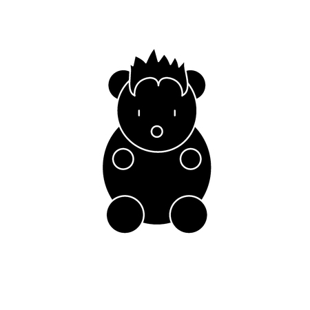 Funny little animal black icon, concept vector sign on isolated background. Funny little animal illustration, symbol
