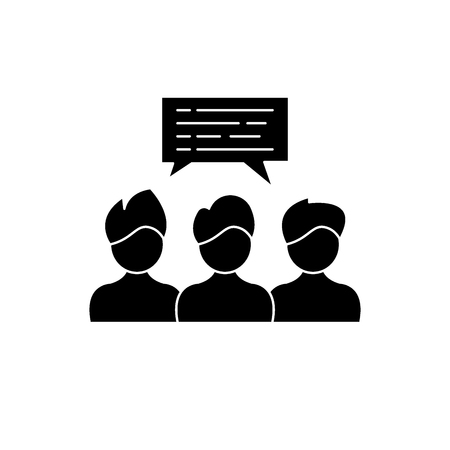 Group coaching black icon, concept vector sign on isolated background. Group coaching illustration, symbol 矢量图像