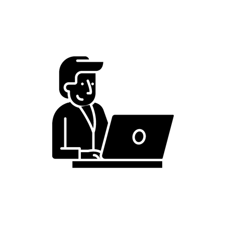 Businessman behind a laptop black icon, concept vector sign on isolated background. Businessman behind a laptop illustration, symbol