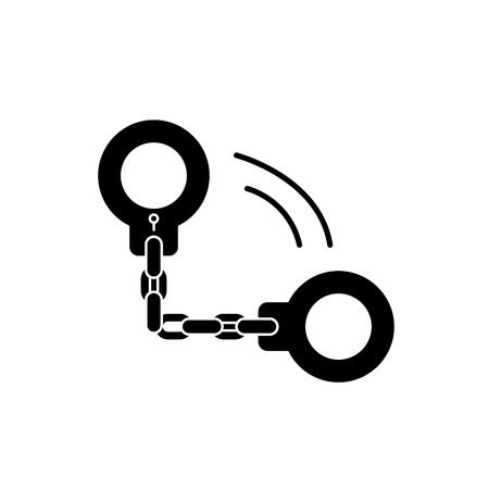 Handcuffs black icon, concept vector sign on isolated background. Handcuffs illustration, symbol