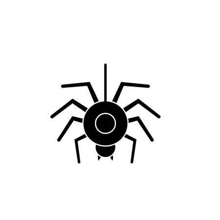 Spider black icon, concept vector sign on isolated background. Spider illustration, symbol