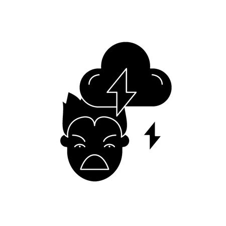 Violence black icon, concept vector sign on isolated background. Violence illustration, symbol Ilustração