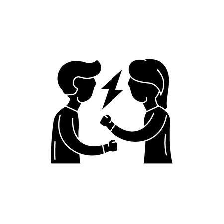 Streit schwarzes Symbol, Konzeptvektorzeichen auf isoliertem Hintergrund. Streit Illustration, Symbol Vektorgrafik