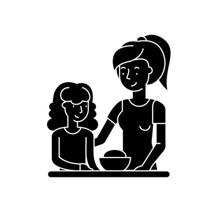 Mom and daughter black icon, concept vector sign on isolated background. Mom and daughter illustration, symbol