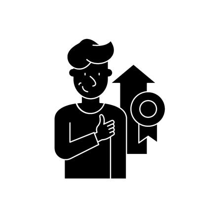 Personal achievement black icon, concept vector sign on isolated background. Personal achievement illustration, symbol Archivio Fotografico - 127268092