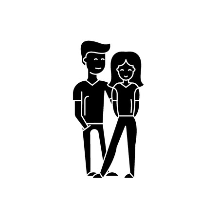 Young happy couple black icon, concept vector sign on isolated background. Young happy couple illustration, symbol Vetores