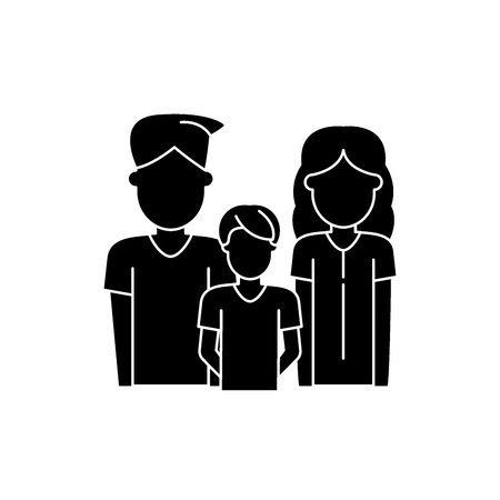 Young family black icon, concept vector sign on isolated background. Young family illustration, symbol
