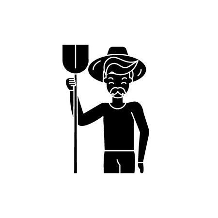 Agronomist black icon, concept vector sign on isolated background. Agronomist illustration, symbol