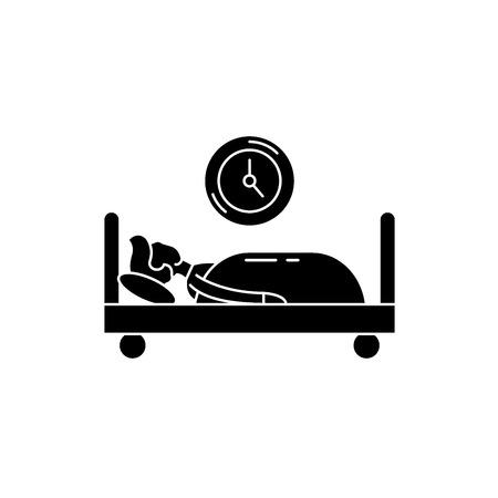 Prokastination black icon, concept vector sign on isolated background. Prokastination illustration, symbol