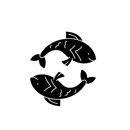 Pisces zodiac sign black icon, concept vector sign on isolated background. Pisces zodiac sign illustration, symbol Illusztráció