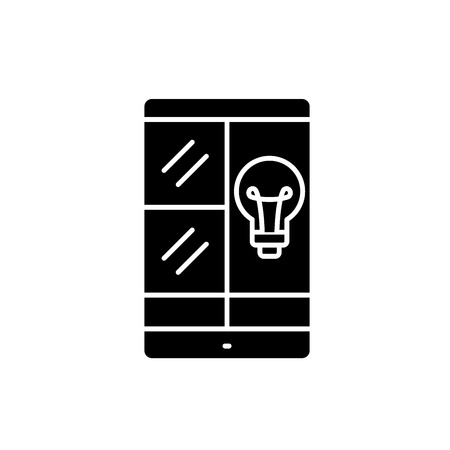 Phablet idea black icon, concept vector sign on isolated background. Phablet idea illustration, symbol