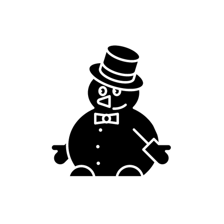 Funny snowman black icon, concept vector sign on isolated background. Funny snowman illustration, symbol