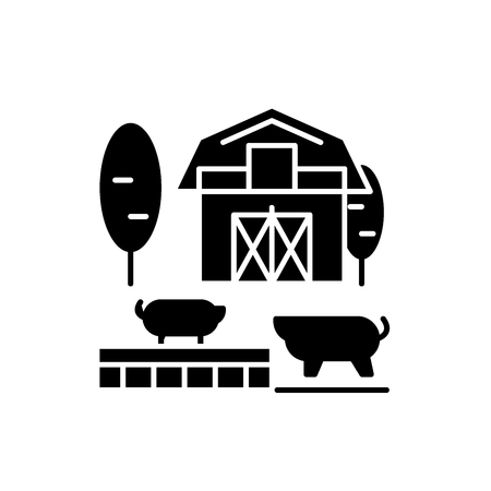Livestock black icon, concept vector sign on isolated background. Livestock illustration, symbol Çizim