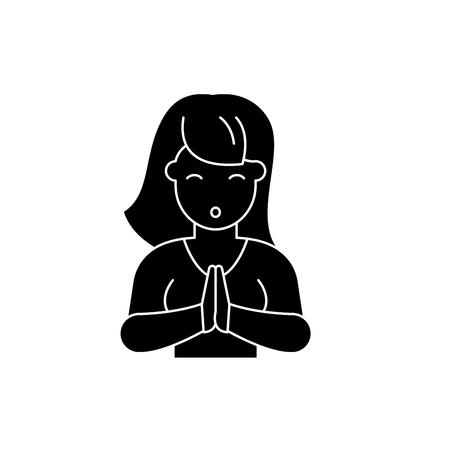 Vulnerability black icon, concept vector sign on isolated background. Vulnerability illustration, symbol Illustration