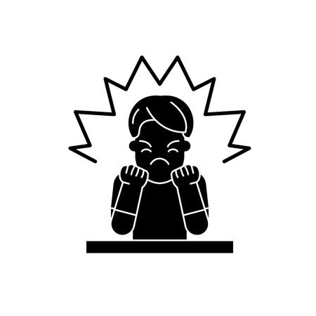 Anger black icon, concept vector sign on isolated background. Anger illustration, symbol