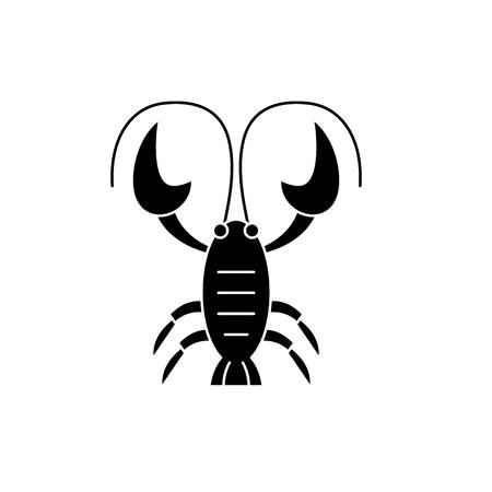 Krebs Sternzeichen schwarzes Symbol, Konzeptvektorzeichen auf isoliertem Hintergrund. Krebs Sternzeichen Illustration, Symbol
