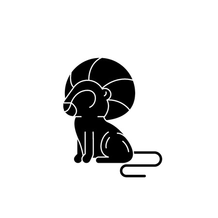Leo zodiac sign black icon, concept vector sign on isolated background. Leo zodiac sign illustration, symbol