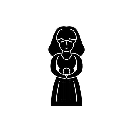 Virgo zodiac sign black icon, concept vector sign on isolated background. Virgo zodiac sign illustration, symbol